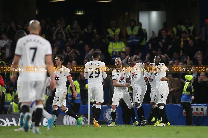 Stefano Okaka (No 33) celebrates scoring Watford's third goal during Chelsea vs Watford, Premier League Football at Stamford Bridge on 15th May 2017