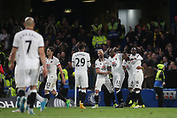Stefano Okaka (No 33) celebrates scoring Watford's third goal during Chelsea vs Watford, Premier League Football at Stamford Bridge on 15th May 2017