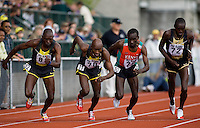 EUGENE, OR--Geoffrey Rono, Bernard Lagat, Eliud Kipchoge, and Alex Kipchirchir compete in the Bowerman Mile during the Steve Prefontaine Classic, Hayward Field, Eugene, OR. SUNDAY, JUNE 10, 2007. PHOTO © 2007 DON FERIA