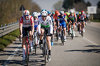race veterans Adam Hansen (AUS/Lotto-Soudal) & Bernhard 'Bernie' Eisel (AUT/Dimension Data) enjoying their time at the front of the race<br /> <br /> 110th Milano-Sanremo 2019 (ITA)<br /> One day race from Milano to Sanremo (291km)<br /> <br /> ©kramon