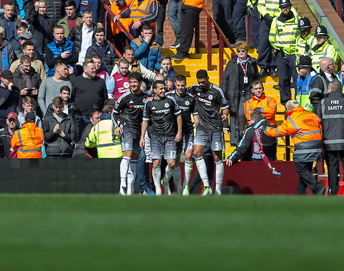 02.04.2016. Villa Park, Birmingham, England. Barclays Premier League. Aston Villa versus Chelsea.  Chelsea midfielder Pedro celebrates with his team mates after scoring his second goal of the match in the 59th minute.