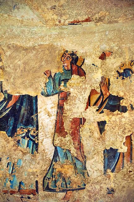 Twelfth Century Romanesque fresco from the Apse of the church of Santa Maria de Mur, Casrell de Mur, Pallars Jussa, Spain. Painted around 1150. National Art Museum of Catalonia, Barcelona. MNAC 68710