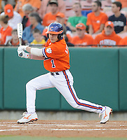 Outfielder Dominic Attanasio (1) of the Clemson Tigers in a game against the Eastern Michigan Eagles on Friday, Feb. 18, 2011, at Doug Kingsmore Stadium in Clemson, S.C. Photo by Tom Priddy / Four Seam Images