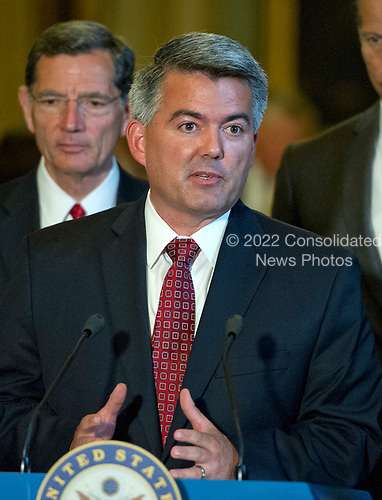 United States Senator Cory Gardner (Republican of Colorado) speaks to reporters following the Republican Party luncheon in the United States Capitol in Washington, DC on Tuesday, July 11, 2017.  <br /> Credit: Ron Sachs / CNP