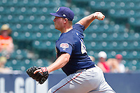 Starting pitcher Erik Arnesen #46 of the Harrisburg Senators in action against the Richmond Flying Squirrels at The Diamond on July 22, 2011 in Richmond, Virginia.  The Squirrels defeated the Senators 5-1.   (Brian Westerholt / Four Seam Images)