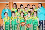 The Kerry U14 tea  that aretravelling to Belfast next weekend for the Winfoot Basketball Northern Ireland invitational tournement front row l-r: Laoise Coughlan, Fiona Nelligan, Aoife O'Connor, Niamh Morriss, Labhaoise Walmsley. back row: Joanne Downey Coach, Emma Dineen, Nicole Downey, Lorraine Nolan, Emma Sexton, Rowanne McNulty, Anna O'connell, Frances Boderick and Anne Scanlon Coach