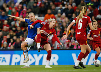 17th November 2019; Anfield, Liverpool, Merseyside, England; Womens Super League Footballl, Liverpool Women versus Everton; Simone Magill of Everton challenges Rhiannon Roberts of Liverpool FC Women on the edge of the Liverpool area - Editorial Use