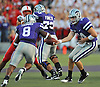 Oct 07, 2010; Manhattan, KS, USA; Kansas State Wildcats quarterback Carson Coffman (14) hands off to running back Daniel Thomas (8) in the first half of the game against the Nebraska Cornhuskers at Bill Snyder Family Stadium. Mandatory Credit: Denny Medley-US PRESSWIRE