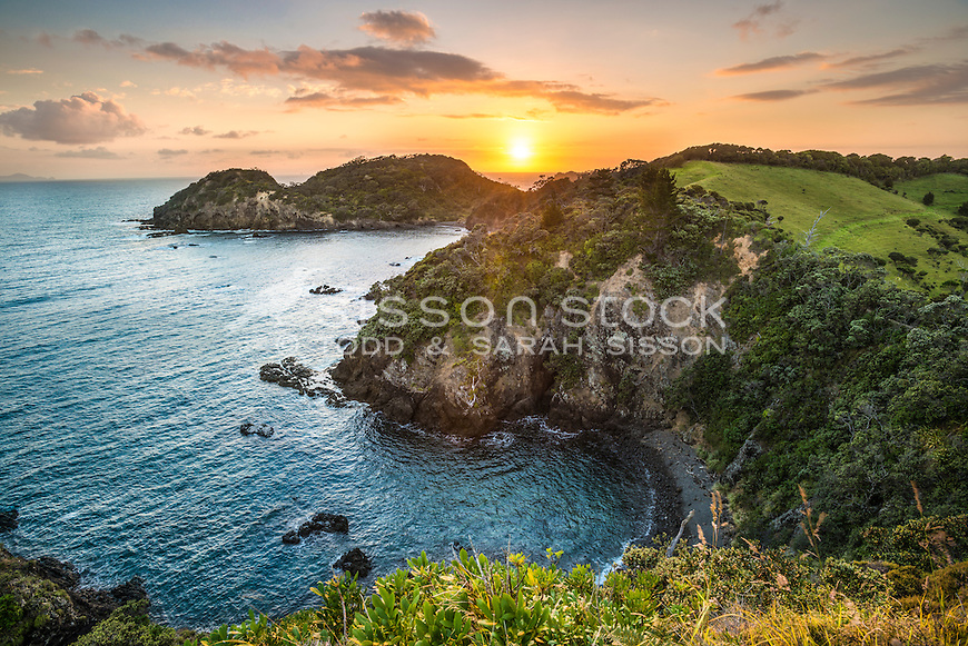 View from Whale Bay Walking Track, Tutukaka Coast, New Zealand - stock photo, canvas, fine art print