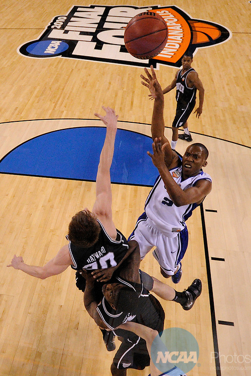 5 APR 2010: Nolan Smith (2) from Duke drives the lane and puts up a shot attempt during the Men's Basketball Championship held at Lucas Oil Stadium in Indianapolis, IN. Duke went on to defeat Butler 61-59 to claim the championship title. Chris Steppig/NCAA Photos