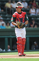Catcher Josue Peley (17) of the Greenville Drive, Class A affiliate of the Boston Red Sox, in a game against the Charleston RiverDogs on May 15, 2011, at Fluor Field at the West End in Greenville, S.C. Photo by Tom Priddy / Four Seam Images