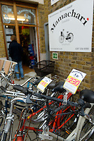 "Mamachari Bikes, Dalston, London, UK, March 29, 2014. Mamachari sells Japanese ""mamachari"" shopping bikes in the East End of London."