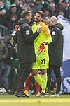 13.04.2019, Weserstadion, Bremen, GER, 1.FBL, Werder Bremen vs SC Freiburg<br /> <br /> DFL REGULATIONS PROHIBIT ANY USE OF PHOTOGRAPHS AS IMAGE SEQUENCES AND/OR QUASI-VIDEO.<br /> <br /> im Bild / picture shows<br /> Tim Borowski (Co-Trainer SV Werder Bremen) freut sich über 2:1 Sieg und Debüt von Stefanos Kapino (Werder Bremen #27), <br /> <br /> Foto © nordphoto / Ewert