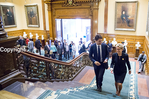 Prime Minister-designate Justin Trudeau is welcomed to Queen's Park by Premier Kathleen Wynne. October 27, 2015.