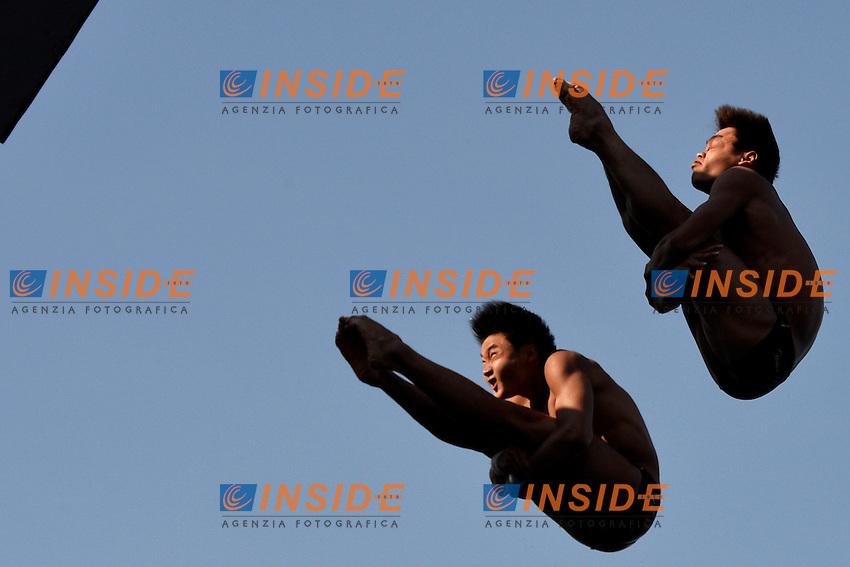 Yuan CAO, Yanquan ZHANG China Bronze medal <br /> Diving Men's 10m Synchro Platform - Tuffi Piattaforma 10m sincronizzato Uomini <br /> Barcellona 21/7/2013 Piscina Municipal <br /> Barcelona 2013 15 Fina World Championships Aquatics <br /> Foto Andrea Staccioli Insidefoto