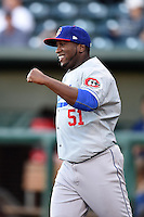 Chattanooga Lookouts pitcher Onelki Garcia (51) during introductions before game three of the Southern League Championship Series against the Jacksonville Suns on September 12, 2014 at Bragan Field in Jacksonville, Florida.  Jacksonville defeated Chattanooga 6-1 to sweep three games to none.  (Mike Janes/Four Seam Images)
