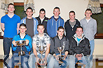 UNDER21s: Some of the under 21s of Causeway Hurling team who were presented with their medals at the Causeway GAA Social  in Hartys Bar & Restaurant, Causeway on Saturday night. Front l-r: Darren Leahy, Adam Whyte, Seamus Breen and John Cantillon. Back l-r: Muiris Delaney, Anthony Fealy, Paul McCarthy, Bryan Murphy, Kieran Leahy and Tommy Barrett...