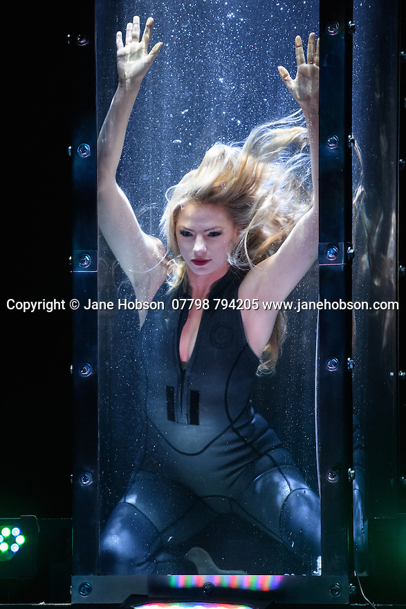 London, UK. 12.07.2016. Jamie Hendry and Gavin Kalin Productions present IMPOSSIBLE, at the Noel Coward Theatre. Following its West End season last year, the magic show returns to London this summer, running from Friday 8th July to Saturday 27th August. Opening night is Wednesday 13th July. The magicians are: Magical Bones, Jonathan Goodwin, Sabine van Diemen, Lance Corporal Richard Jones (winner of Britain's Got Talent 2016), Josephine Lee, Ben Hart, Chris Cox. Picture shows:  Josephine Lee. Photograph © Jane Hobson.