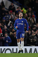 Eden Hazard celebrates scoring Chelsea's third goal during Chelsea vs West Bromwich Albion, Premier League Football at Stamford Bridge on 12th February 2018