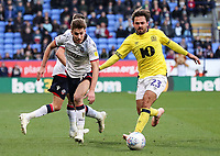 Bolton Wanderers' Joe Williams competing with Blackburn Rovers' Bradley Dack<br /> <br /> Photographer Andrew Kearns/CameraSport<br /> <br /> The EFL Sky Bet Championship - Bolton Wanderers v Blackburn Rovers - Saturday 6th October 2018 - University of Bolton Stadium - Bolton<br /> <br /> World Copyright © 2018 CameraSport. All rights reserved. 43 Linden Ave. Countesthorpe. Leicester. England. LE8 5PG - Tel: +44 (0) 116 277 4147 - admin@camerasport.com - www.camerasport.com