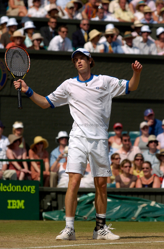 Photo: Richard Lane..Wimbledon Championships. 03/07/2006. .Great Britain's Andy Murray questions a point.