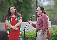 Graduating seniors, faculty and staff gather for the LatinX Graduation Celebration, on the  Thorne Hall patio on Saturday, May 18, 2019.<br /> <br /> (Photo by John Valenzuela, Freelance Photographer)