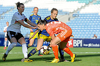 20200304 Faro , Portugal : Swedish goalkeeper Zecira Musovic (21) , Swedish Magdalena Eriksson (6) and German midfielder Alexandra Popp (11) pictured during the female football game between the national teams of Germany and Sweden on the first matchday of the Algarve Cup 2020 , a prestigious friendly womensoccer tournament in Portugal , on wednesday 4 th March 2020 in Faro , Portugal . PHOTO SPORTPIX.BE | STIJN AUDOOREN