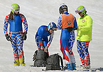March 27, 2012:  Team USA skiers following the downhill competition at the U.S. Adaptive Alpine National Championships at the Racer's Edge course in Aspen, Colorado.
