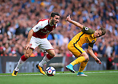 1st October 2017, Emirates Stadium, London, England; EPL Premier League Football, Arsenal versus Brighton; Solly March of Brighton is dispossessed by Calum Chambers of Arsenal