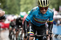 Esteban Chaves (COL/Mitchelton-Scott) racing against the elements<br /> <br /> Elite Men Road Race from Leeds to Harrogate (shortened to 262km)<br /> 2019 UCI Road World Championships Yorkshire (GBR)<br /> <br /> ©kramon