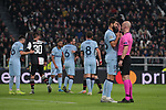 Referee Anthony Taylor has a word with Felipe of Atletico Madrid following an altercation in the penalty area with Cristiano Ronaldo of Juventus during the UEFA Champions League match at Juventus Stadium, Turin. Picture date: 26th November 2019. Picture credit should read: Jonathan Moscrop/Sportimage
