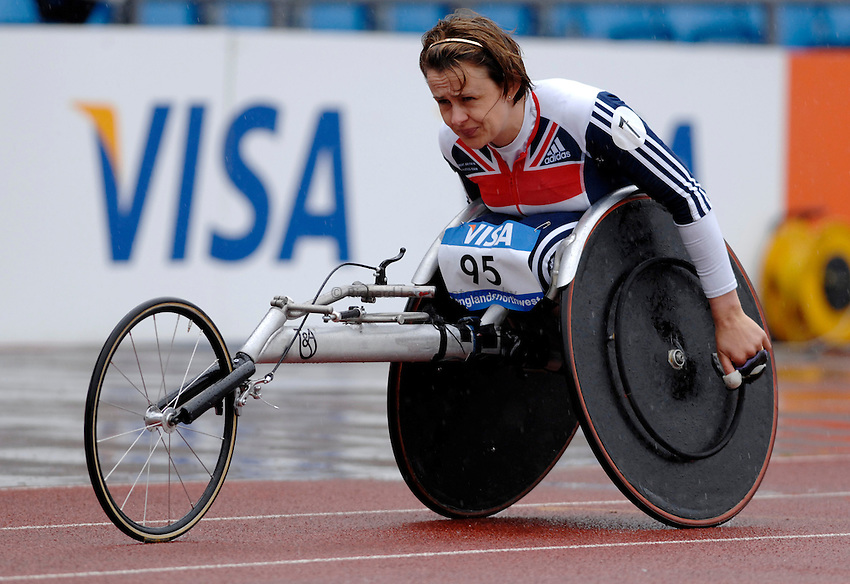 Photo: Richard Lane..VISA Paralympic World Cup 2007. Athletics. 13/05/2007. .Dame Tanni Grey-Thompson of Great Britain perpares for the Women's T53 200m, her last race before retirement.