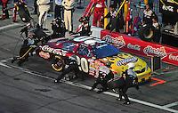 Jul. 4, 2008; Daytona Beach, FL, USA; Nascar Nationwide Series driver Denny Hamlin pits during the Winn-Dixie 250 at Daytona International Speedway. Mandatory Credit: Mark J. Rebilas-