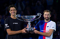 Lukasz Kubot of Poland and Marcelo Melo of Brazil with the ATP World Tour trophy after being ranked World Number One.<br /> <br /> Photographer Ashley Western/CameraSport<br /> <br /> International Tennis - Nitto ATP World Tour Finals - O2 Arena - London - Day 2  - Monday 13th November 2017<br /> <br /> World Copyright &not;&copy; 2017 CameraSport. All rights reserved. 43 Linden Ave. Countesthorpe. Leicester. England. LE8 5PG - Tel: +44 (0) 116 277 4147 - admin@camerasport.com - www.camerasport.com