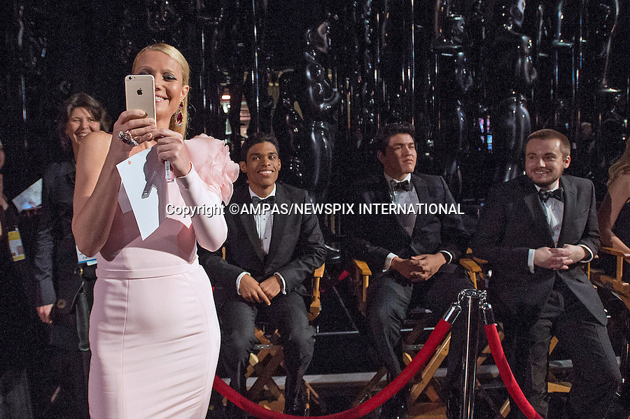 22.02.2015; Hollywood, California: 87TH OSCARS - GWYNETH PALTROW<br /> takes a &quot;Selfie&quot; during the Annual Academy Awards Telecast, Dolby Theatre, Hollywood.<br /> Mandatory Photo Credit: NEWSPIX INTERNATIONAL<br /> <br />               **ALL FEES PAYABLE TO: &quot;NEWSPIX INTERNATIONAL&quot;**<br /> <br /> PHOTO CREDIT MANDATORY!!: NEWSPIX INTERNATIONAL(Failure to credit will incur a surcharge of 100% of reproduction fees)<br /> <br /> IMMEDIATE CONFIRMATION OF USAGE REQUIRED:<br /> Newspix International, 31 Chinnery Hill, Bishop's Stortford, ENGLAND CM23 3PS<br /> Tel:+441279 324672  ; Fax: +441279656877<br /> Mobile:  0777568 1153<br /> e-mail: info@newspixinternational.co.uk