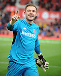 Stoke City goalkeeper Jack Butland celebrates towards the fans at the end of the game<br /> - Barclays Premier League - Stoke City vs Manchester United - Britannia Stadium - Stoke on Trent - England - 26th December 2015 - Pic Robin Parker/Sportimage