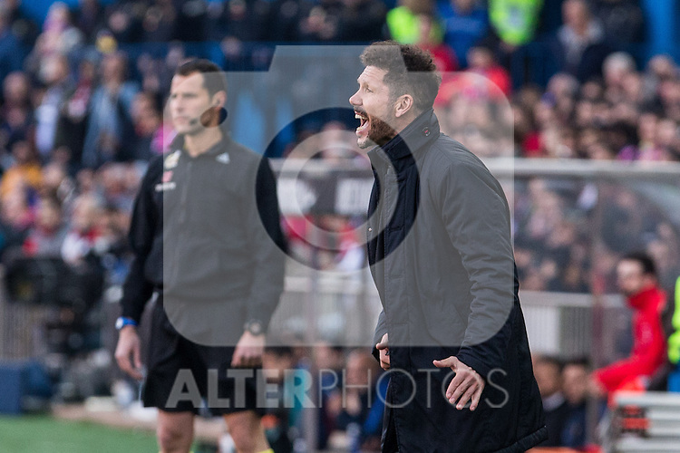 Diego Pablo Cholo Simeone coach of Atletico de Madrid  during the match of Spanish La Liga between Atletico de Madrid and Futbol Club Barcelona at Vicente Calderon Stadium in Madrid, Spain. February 26, 2017. (ALTERPHOTOS)