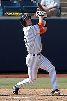 Michael Lorenzen #55 of the Cal State Fullerton Titans bats against the TCU Horned Frogs at Goodwin Field on February 26, 2012 in Fullerton,California. Fullerton defeated TCU 11-10.(Larry Goren/Four Seam Images)