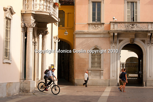 Street scene in Como, Italy a city on Lake Como with bikes