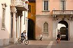 Street scene in Como, Italy a city on Lake Como with bikes