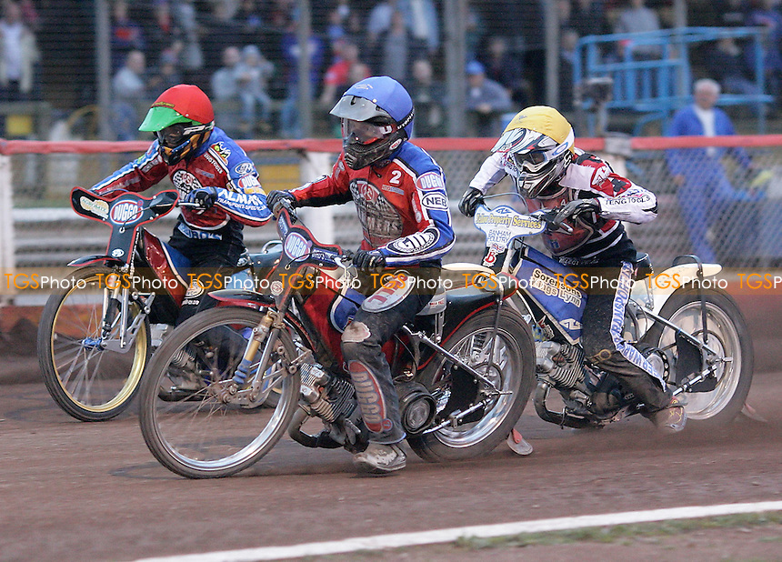 Heat 10 - Kylmakorpi (blue), Kasprzak, Doolan - Lakeside Hammers vs Belle Vue Aces - Elite League Speedway at Arena Essex - 04/07/07 - MANDATORY CREDIT: Gavin Ellis/TGSPHOTO - SELF-BILLING APPLIES WHERE APPROPRIATE. NO UNPAID USE -  Tel: 0845 0946026