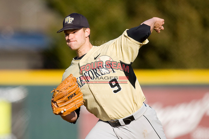 Starting pitcher Austin Stadler #9 of the Wake Forest Demon Deacons in action against the Virginia Tech Hokies at English Field March 27, 2010, in Blacksburg, Virginia.  Photo by Brian Westerholt / Four Seam Images