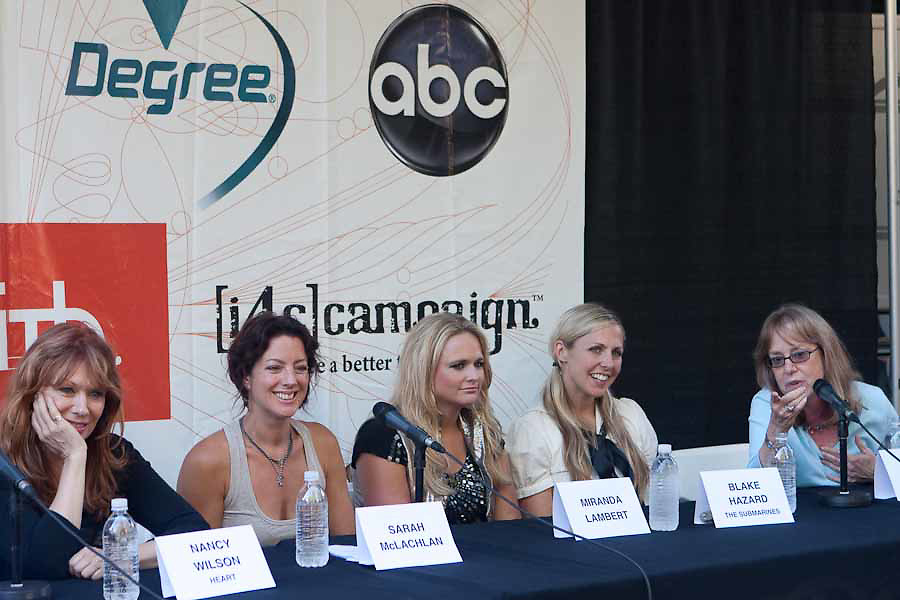 Musicians Nancy Wilson, Sarah McLachlan, Miranda Lambert, and Blake Hazard speak to journalists during an intermission at the Lilith Fair in Mountain View, California.