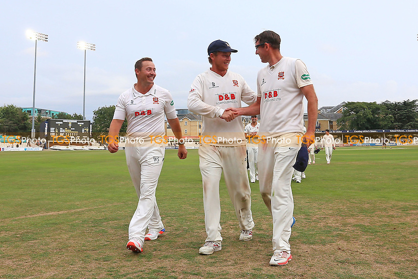 Graham Napier (L), Tom Westley and David Masters leave the field as Essex clinch victory during Essex CCC vs Worcestershire CCC, Specsavers County Championship Division 2 Cricket at the Essex County Ground on 2nd September 2016
