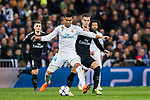 Carlos Henrique Casemiro (L) of Real Madrid fights for the ball with Giovani Lo Celso of Paris Saint Germain during the UEFA Champions League 2017-18 Round of 16 (1st leg) match between Real Madrid vs Paris Saint Germain at Estadio Santiago Bernabeu on February 14 2018 in Madrid, Spain. Photo by Diego Souto / Power Sport Images