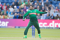 Shakib Al Hasan (Bangladesh) in action during England vs Bangladesh, ICC World Cup Cricket at Sophia Gardens Cardiff on 8th June 2019