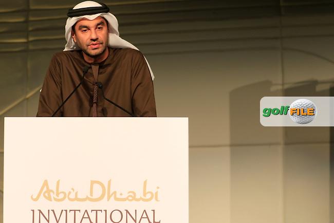 During the Gala Dinner at the Abu Dhabi Invitational 2015, Yas Links golf club, Abu Dhabi, UAE.<br /> Picture Fran Caffrey/Golffile