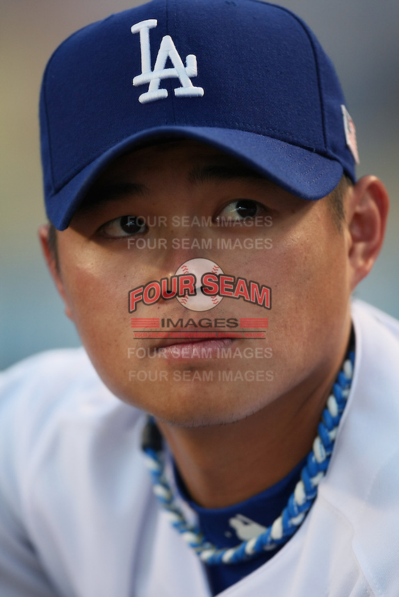 Chin-Lung Hu of the Los Angeles Dodgers during a 2007 MLB season game at Dodger Stadium in Los Angeles, California. (Larry Goren/Four Seam Images)
