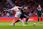 Nicolas Otamendi of Argentina (R) fights for the ball with Diego Costa of Spain (L) during the International Friendly 2018 match between Spain and Argentina at Wanda Metropolitano Stadium on 27 March 2018 in Madrid, Spain. Photo by Diego Souto / Power Sport Images