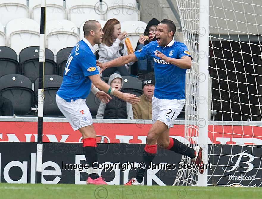 ::  RANGERS' KYLE BARTLEY CELEBRATES AFTER HE SCORES RANGERS' FIRST ::